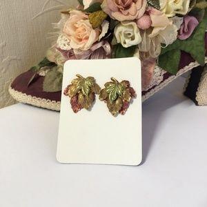 Gorgeous Vintage Gilded Leaf Earrings